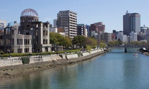 The A-bomb Dome on the banks of the Ota, Hiroshima's main river.