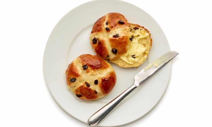 Felicity Cloake's hot cross buns with butter.