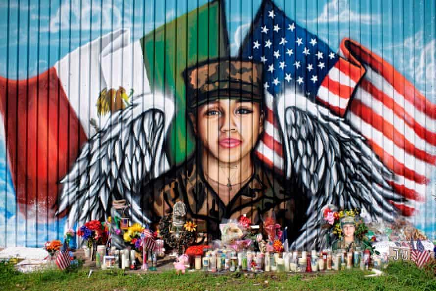 A memorial for Vanessa Guillen in Houston, Texas.