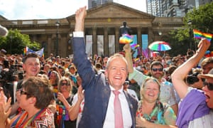 Bill Shorten celebrates the results of the same-sex marriage postal survey in Melbourne.