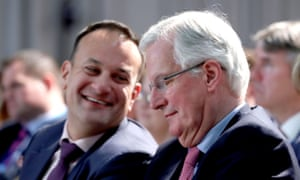 Leo Varadkar (left) and Michel Barnier during a press conference at Dundalk Institute of Technology.