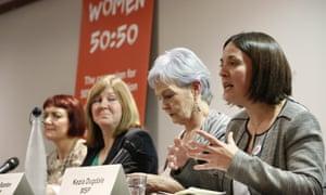 Scottish Labour leader Kezia Dugdale speaks at a Women 50:50 event.