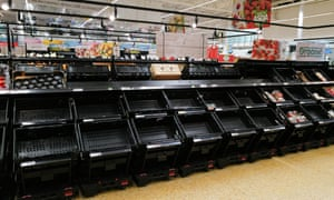 Empty shelves at an Asda store on July 21, 2021 in Cardiff. Supermarkets across the UK are emptying of products because of Brexit lorry shortages combined with large numbers of staff isolating due to Covid.