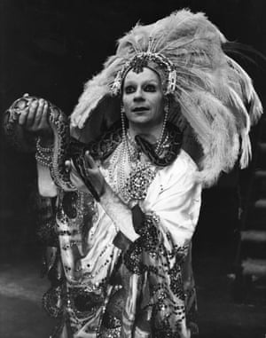 Kemp holds a boa constrictor as he once more takes on the role of Salome at the Roundhouse, London, 1977