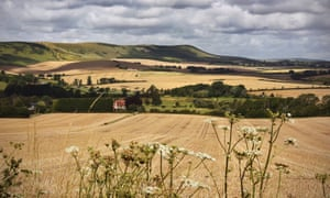 Farm fields on the South Downs of East Sussex at Berwick and looking towards Firle.