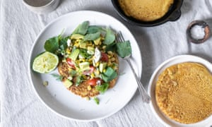 Socca pancakes with herby sweetcorn salad