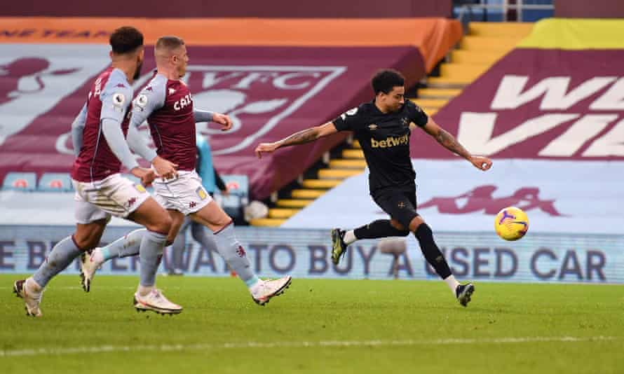 Jesse Lingard lines up a shot for West Ham's second goal in their 3-1 victory at Aston Villa.