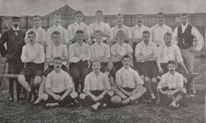 Harry Trainer sits in the front row (second to the left) with his Leicester Fosse teammates during the 1895-86 season.