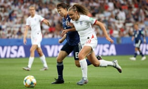England's Georgia Stanway surges past Hina Sugita during an effective performance against Japan.
