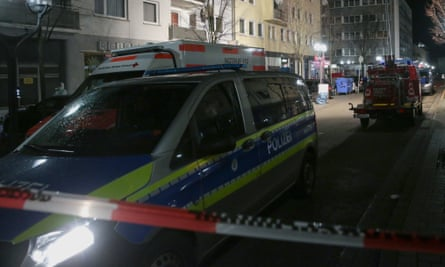 Police at one of the scenes of the Hanau shootings last month