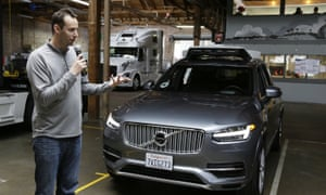 Anthony Levandowski, the former head of Uber's self-driving program, with one of the company's driverless cars in San Francisco.
