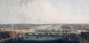 Proposed London Bridge, London, 1802. Artist: William Daniell
