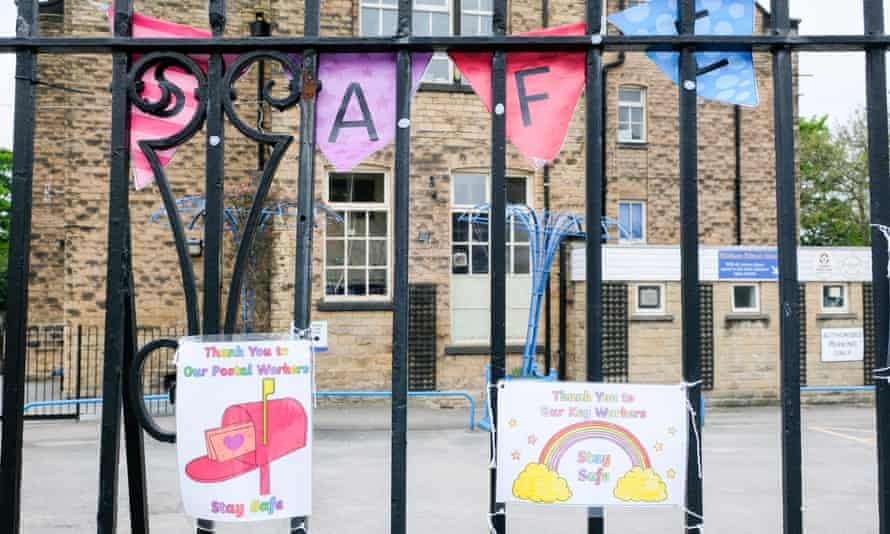 Messages of support for key workers on display outside a primary school in Sheffield