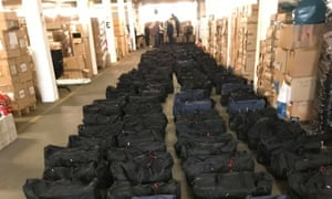 Hamburg port authorities found 221 black sport bags containing 4,200 packets of pressed cocaine.