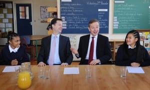 Michael Gove, right, with deputy prime minister Nick Clegg, in 2010 when he was education secretary, and pupils at a south London school.