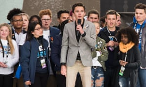 Jaclyn Corin, David Hogg, Cameron Kasky and Noami Wadler speak during March For Our Lives on 24 March, 2018 in Washington, DC.