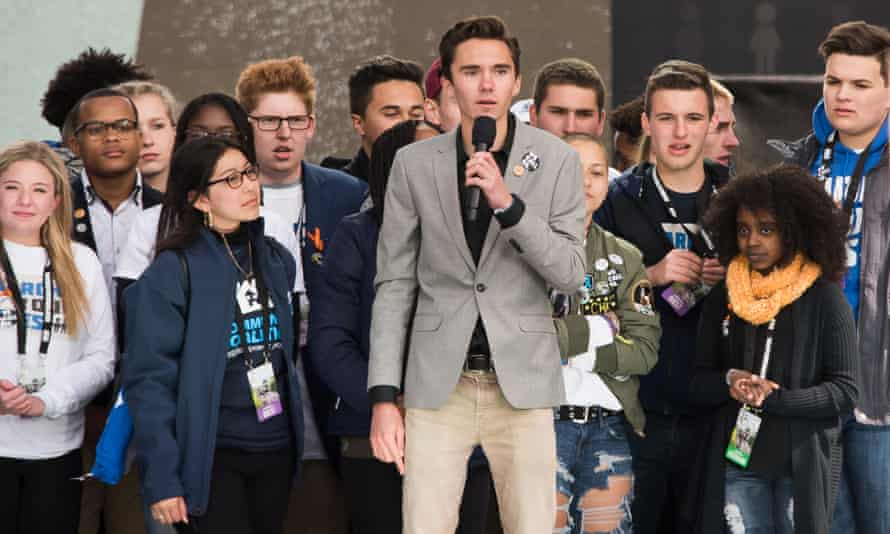 David Hogg speaking at March for Our Lives in Washington DC with Jaclyn Corin, Cameron Kasky and Naomi Wadler on 24 March.
