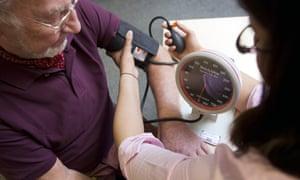 a patient receives a blood pressure test