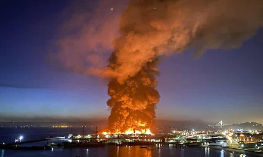 A warehouse fire burns at Fisherman's Wharf in San Francisco.