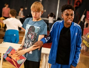 Relatable … Rufus Kampa, left, as Adrian with Jeremiah Waysome as Nigel.