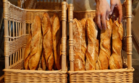 A French baker takes baguettes