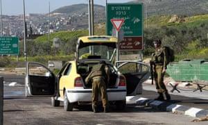 An Israeli army checkpoint near Nablus, West Bank.