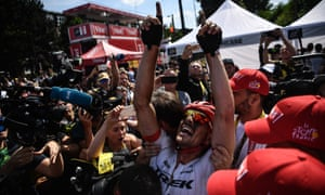 An emotional John Degenkolb celebrates after winning his first Tour de France stage.