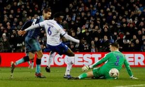 Fernando Llorente scores the second of his three goals against Tranmere in Tottenham's comprehensive win at Prenton Park.