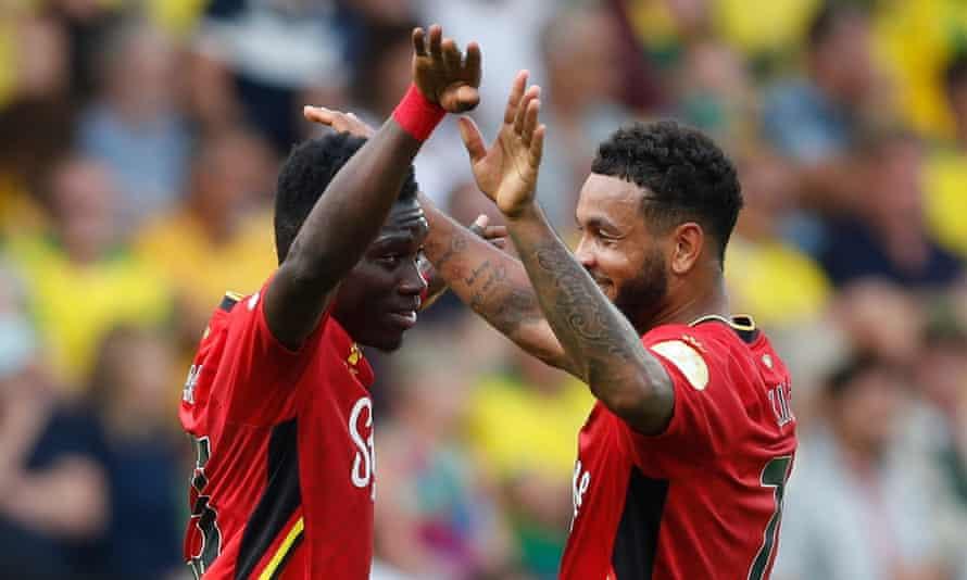 Ismaïla Sarr celebrates scoring Watford's third goal with Joshua King
