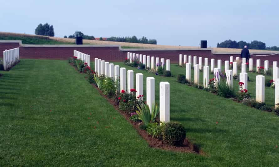 The graves of 250 Australian and British soldiers in the Pheasant Wood cemetery in Fromelles, all of whom were initially buried in a mass grave on the site following the bloody Battle of Fromelles in 1916.