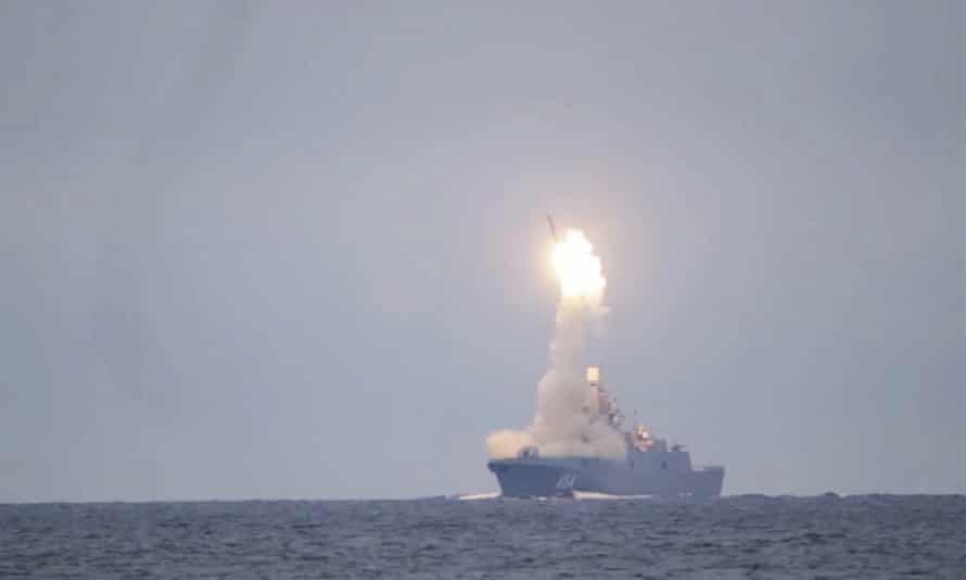 A Russian Zircon hypersonic cruise missile is launched from the Admiral Groshkov frigate, in the White Sea, north of Russia, in October 2020.