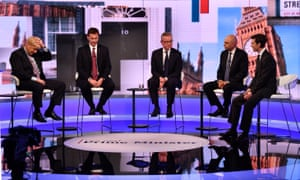 Boris Johnson, Jeremy Hunt, Michael Gove, Sajid Javid and Rory Stewart participate in a BBC Conservative leadership debate on Wednesday 18 June 2019
