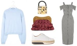 Jumper, £55, cosstores.com, Hair tie, £6, urbanoutfitters.com, Bag: £165 by Kayu from net-a-porter.com, Shoes: £165, whistles.com, Dress, £49, warehouse.co.uk