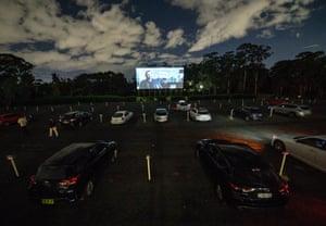 Cinema-goers watch My Spy from their cars