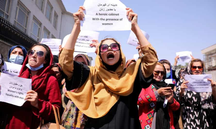 Afghan women protest in front of the presidential palace in Kabul