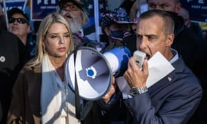 Former campaign adviser to Donald Trump, Corey Lewandowski (R) and former Florida attorney general Pam Bondi speak to the media about a court order giving the Trump campaign access to observe vote counting operations in Philadelphia, Pennsylvania.