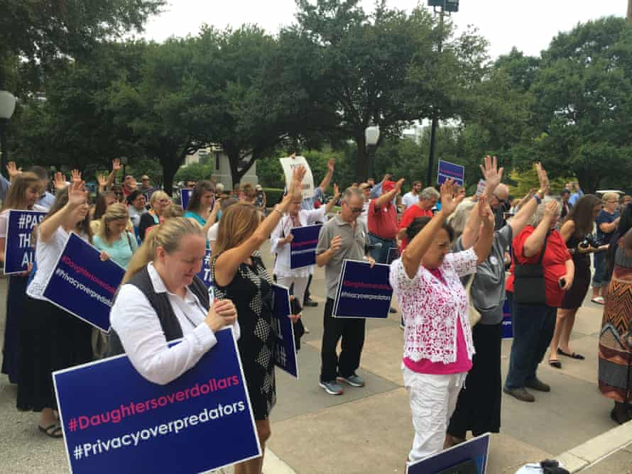 Supporters of the Texas 'bathroom bill' attend a rally in Austin.