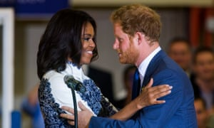 Prince Harry embraces Michelle Obama