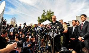 San Bernardino police department chief Jarrod Burguan speaks during a news conference near the Inland Regional Center in San Bernardino, California, on Wednesday.