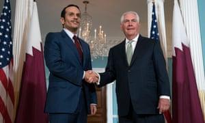 Mohammed bin Abdulrahman al-Thani, the Qatari foreign minister, meets Rex Tillerson in Washington DC on 27 June.