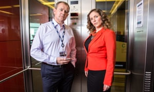 New beginnings … Hugh Bonneville and Jessica Hynes in BBC2's W1A.