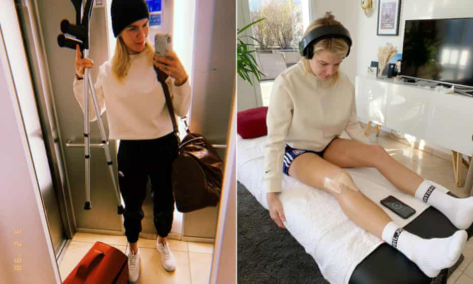 Ada Hegerberg on her the way to hospital for surgery after rupturing her anterior cruciate ligament during training in January 2020, and on the road to recovery 10 days after the operation