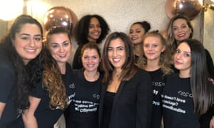 Tima Reshad, third from right in the front, and her staff, pre-coronavirus crisis, at the Coco beauty salon on Portobello Road, west London.