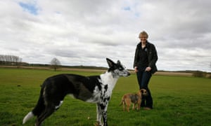 Marie-Claire Pickard with dogs Morgan (lurcher) and Maggie (border Terrier)