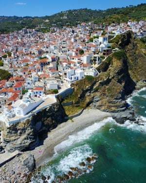 Aerial drone view of Skopelos Island. Between Skiathos and Alonissos, Skopelos is a beautiful island that attracts families and couples. It became famous after scenes for the Hollywood movie Mamma Mia were filmed here in 2008.