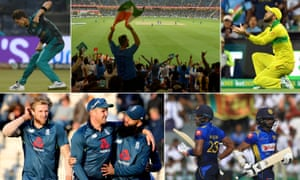 Clockwise from top left: Pakistan's Shaheen Afridi celebrates; India supporters; Glenn Maxwell takes a catch, Sri Lanka's Niroshan Dickwella and Sadeera Samarawickrama run between the wickets and England's Jason Roy, Moeen Ali and David Willey celebrate beating Pakistan.