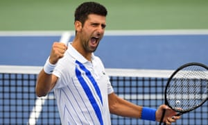 Novak Djokovic celebrates beating Milos Raonic in the final of the Western & Southern Open