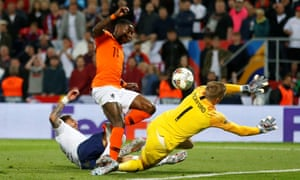 England's Kyle Walker scores an own goal and gives the Netherlands' the lead.