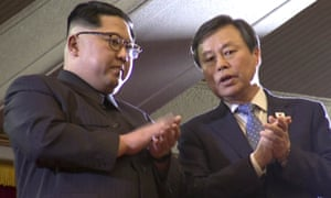 Kim Jong-un and South Korean culture minister Do Jong Whan watch a performance.