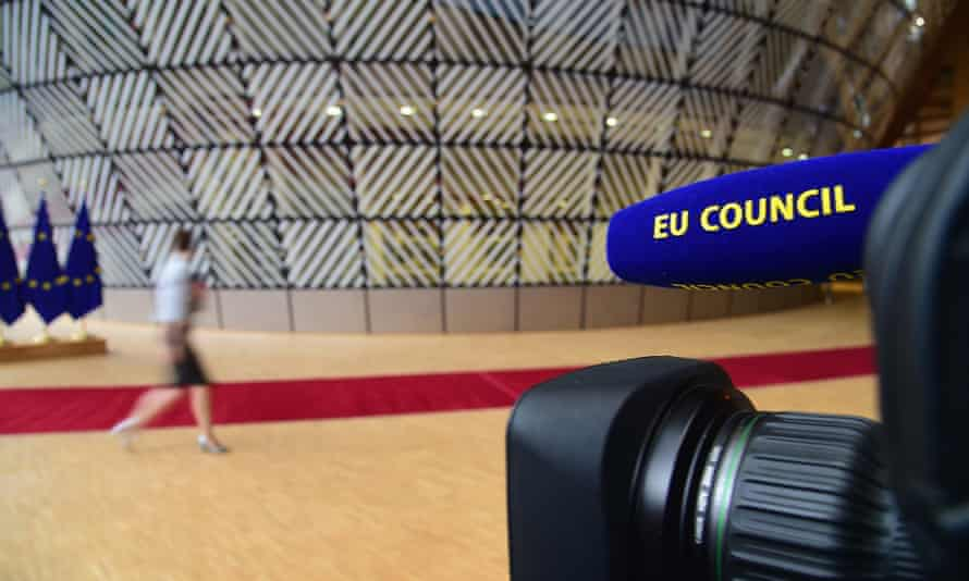 A camera prepared for the start of the EU summit